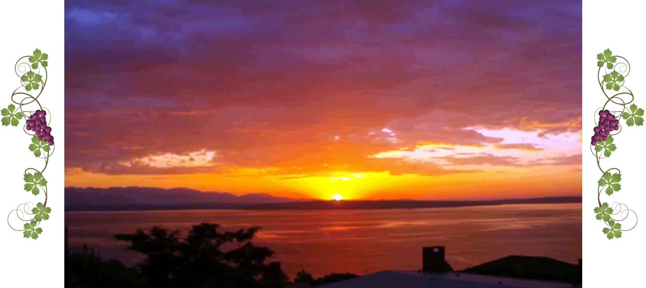 View of the Puget Sound with bright red sunset