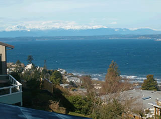 Puget Sound and; Olympic Mountain view.